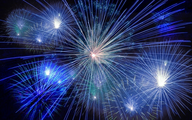Blue Fireworks for New Years Eve